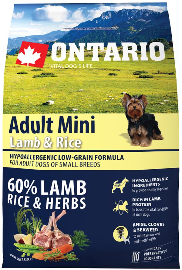 Ontario Dog Adult Mini Lamb & Rice низкозерновой для взрослых собак маленьких пород с ягненком и рисом (0,75 кг)