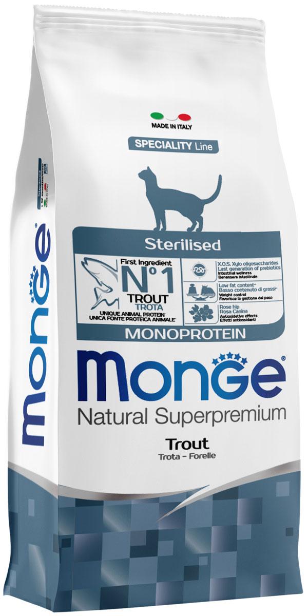 Monge Speciality Cat Sterilised монобелковый для взрослых кастрированных котов и стерилизованных кошек с форелью (1,5 + 1,5 кг)