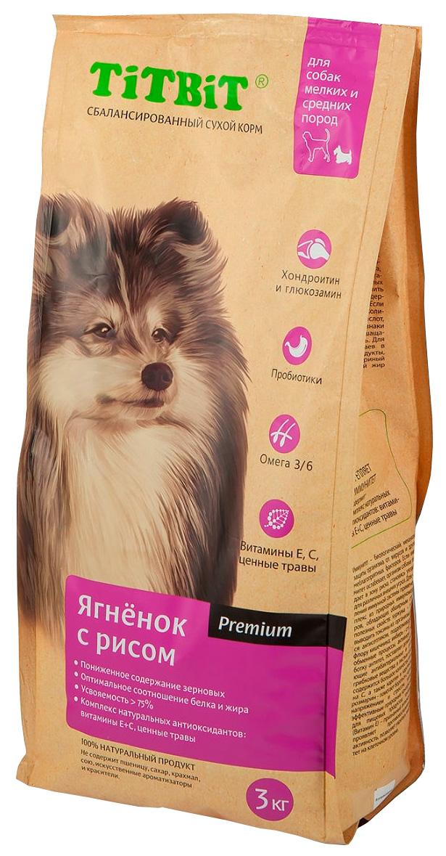Tit Bit для взрослых собак маленьких и средних пород с ягненком и рисом (1 кг)