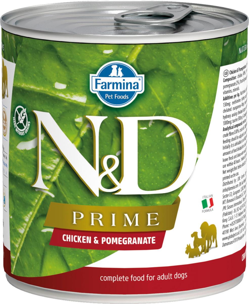 Farmina Dog N&d Prime Adult Chicken & Pomegranate беззерновые для взрослых собак всех пород с курицей и гранатом 285 гр (285 гр х 6 шт)