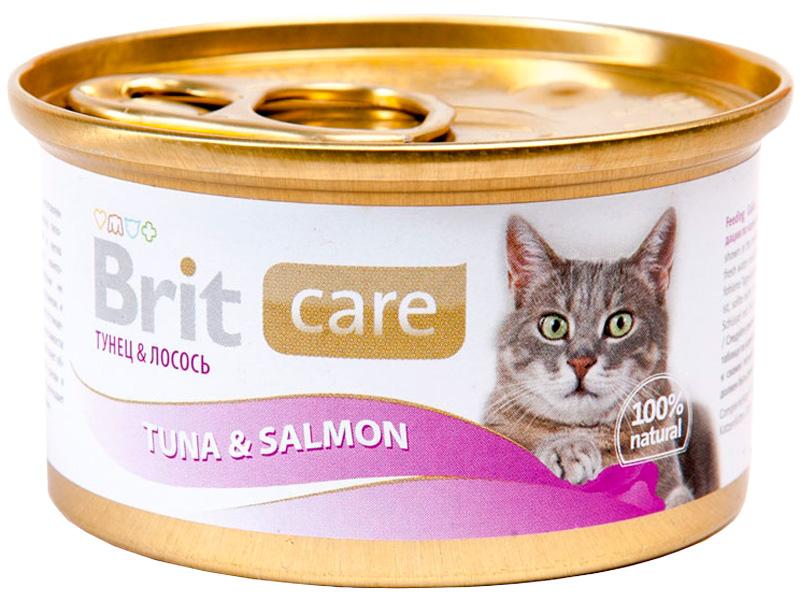 Brit Care Cat Tuna & Salmon для взрослых кошек с тунцом и лососем 80 гр (80 гр х 12 шт)