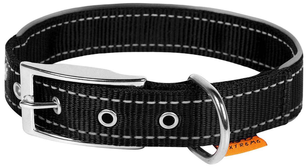 Ошейник нейлоновый для собак двойной со светоотражающей вставкой черный 40 мм 60 – 72 см Collar Dog Extreme (1 шт)