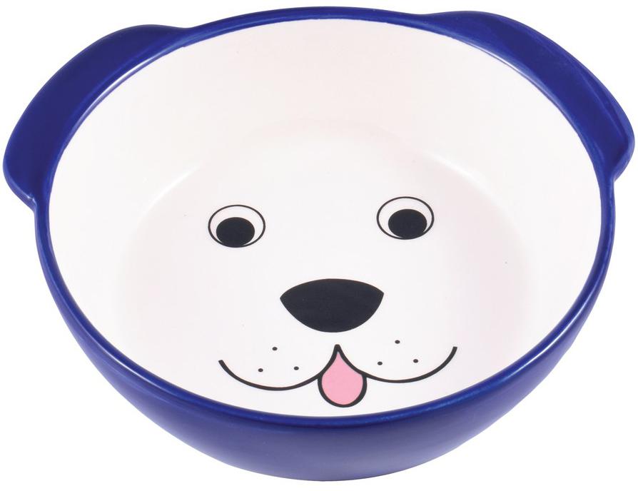 Керамическая миска КерамикАрт Мордочка собаки синяя (0,18 л)