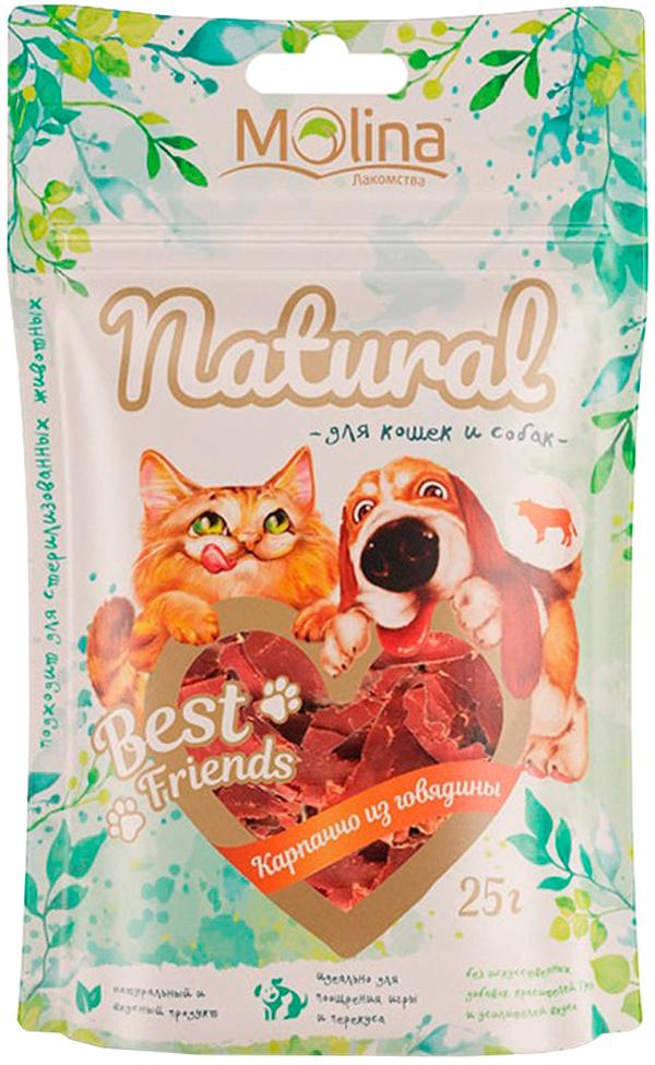 Лакомство Molina Natural Best Friends для собак и кошек карпаччо из говядины 25 гр (1 шт)