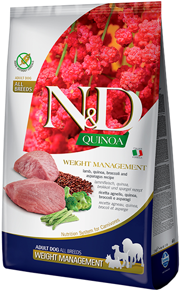 Farmina Dog N&d Grain Free Quinoa Weight Management Lamb беззерновой диетический для взрослых собак всех пород с ягненком и киноа (0,8 кг) фото