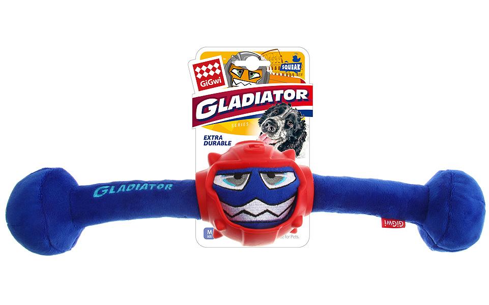 Игрушка для собак GiGwi Gladiator Гантеля Гладиатор в резиновом шлеме с пищалкой синий 41 см (1 шт)