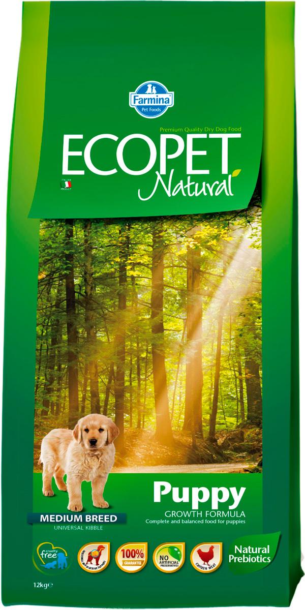 Ecopet Natural Puppy Medium для щенков средних пород с курицей (12 кг)