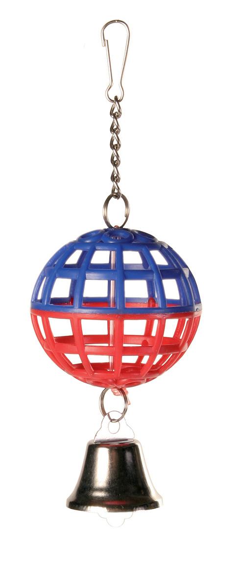 Фото - Игрушка для птиц Trixie Пластиковый шар с колокольчиком 5 см (1 шт) trixie кубик trixie для птиц с зеркалом и колокольчиком 8 см пластмассовый