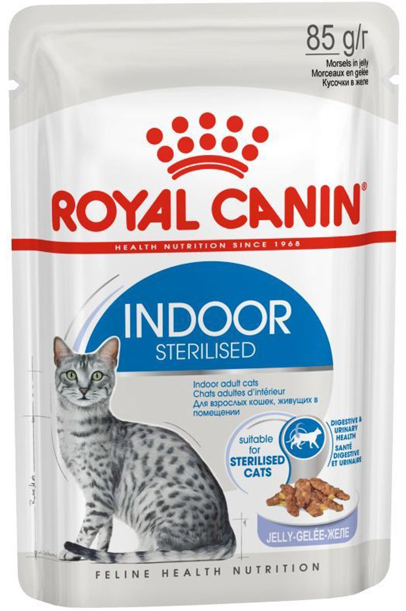 Royal Canin Indoor Sterilised для взрослых кастрированных котов и стерилизованных кошек живущих дома в в желе 85 гр (85 гр)