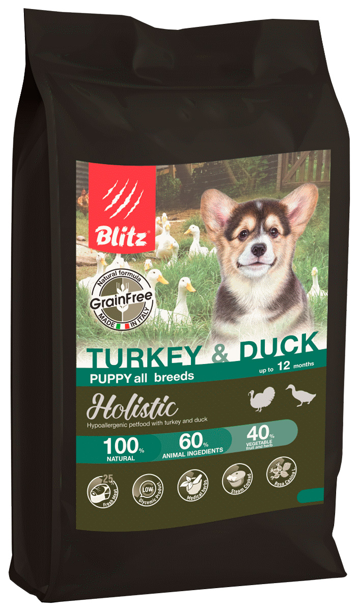 Blitz Holistic Grain Free Puppy Turkey & Duck беззерновой для щенков всех пород с индейкой и уткой (12 + 12 кг)