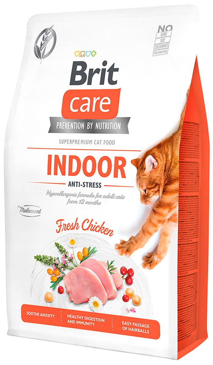 Brit Care Cat Grain-free Indoor Anti-stress беззерновой для взрослых кошек живущих дома с курицей (2 + 2 кг)