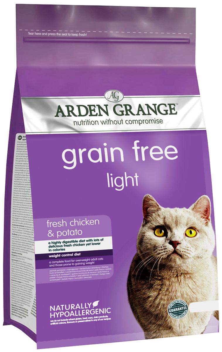 Arden Grange Light Chicken  Potato беззерновой диетический для взрослых кошек с курицей и картофелем (4 кг).