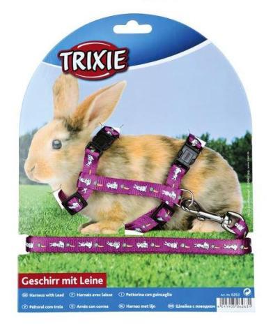 Trixie шлейка для кроликов, с поводком, нейлон с рисунком, 10 мм/1,2 м (1 шт) trixie шлейка для крупных кошек с поводком 34 – 57 см 13 мм 1 шт