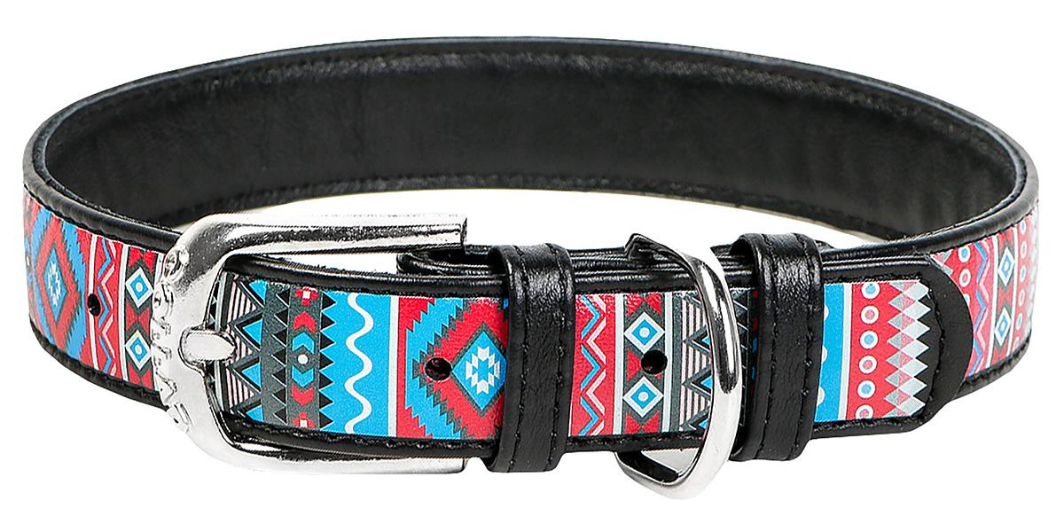 Ошейник кожаный для собак Этно черный 35 мм 46 – 60 см Collar WauDog (1 шт) фото
