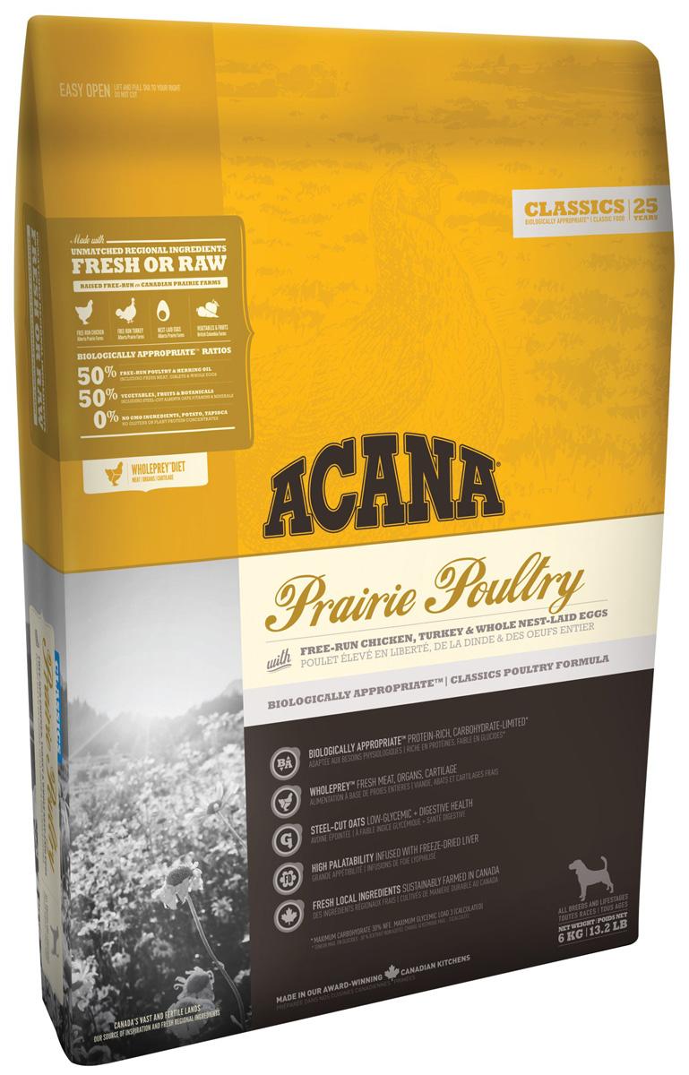 Acana Classic Prairie Poultry Dog для собак и щенков всех пород с курицей, индейкой и овсом (11,4 кг)