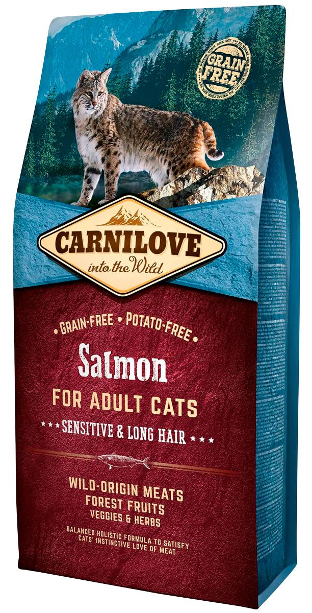 Brit Carnilove Cat Adult Sensitive & Long Hair Salmon беззерновой для взрослых кошек при аллергии с лососем (2 кг)