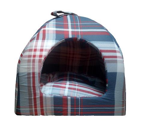 Домик для собак № 2 шотландка синяя 42 х 42 х 38 см (1 шт) фото