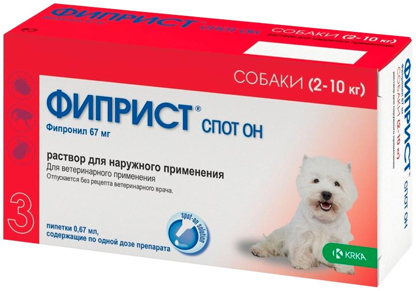 Фиприст спот он – капли для собак весом от 2 до 10 кг против клещей, блох, вшей и власоедов (1 пипетка по 0,67 мл) Krka (1 уп) фото
