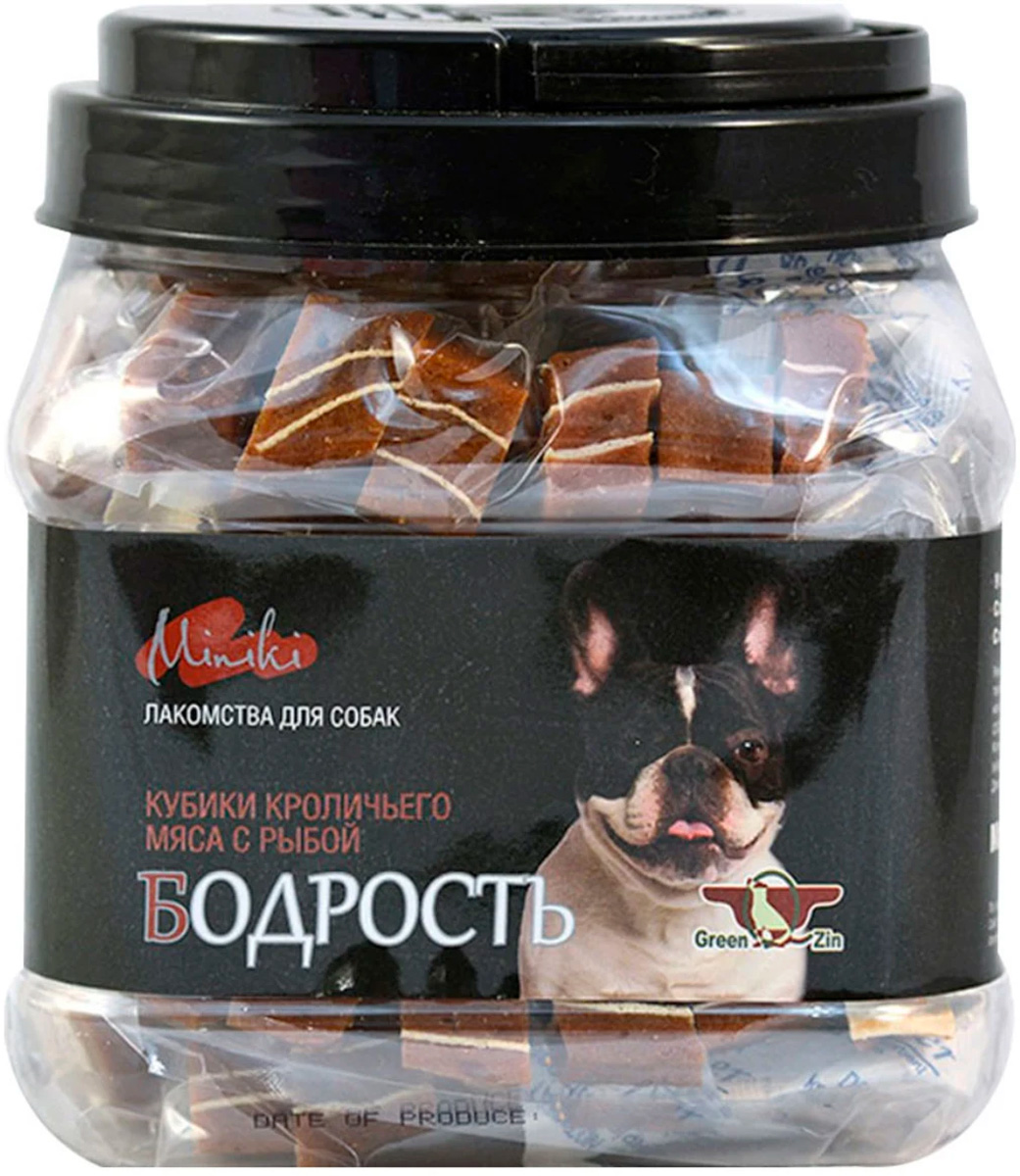 Лакомство Green Qzin Miniki Бодрость для собак маленьких пород кубики мяса кролика с сурими 630 гр (1 шт)