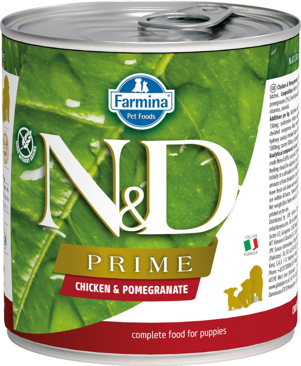 Farmina Dog N&d Prime Puppy Chicken & Pomegranate беззерновые для щенков всех пород с курицей и гранатом 285 гр (285 гр х 6 шт)