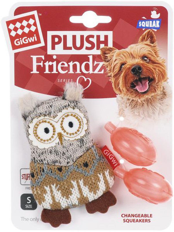 Игрушка для собак GiGwi Plush Friendz Сова с пищалкой 10 см (1 шт)