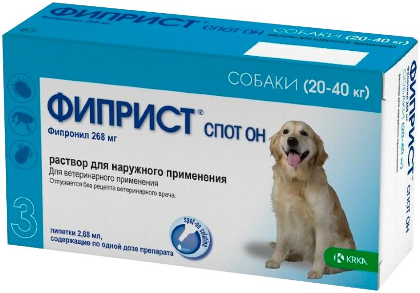 фиприст спот он – капли для собак весом от 20 до 40 кг против клещей, блох, вшей и власоедов (1 пипетка по 2,68 мл) Krka (1 пипетка)