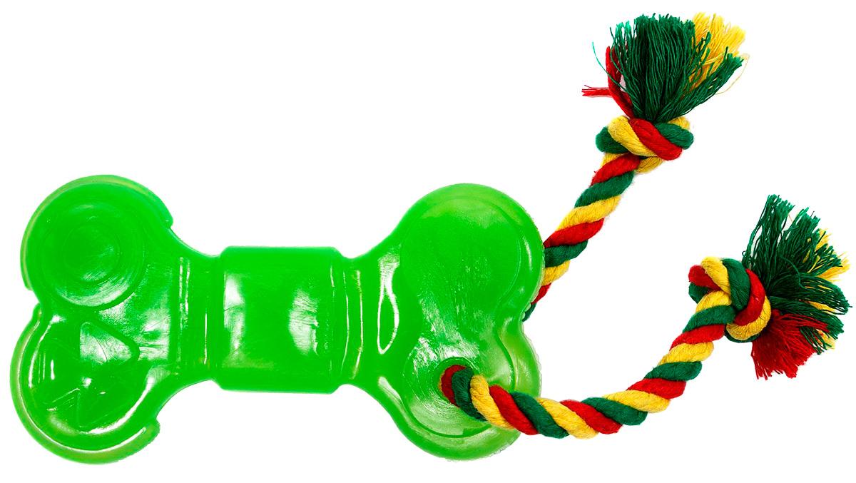 Игрушка для собак Doglike Кость с канатом зеленая большая (1 шт)