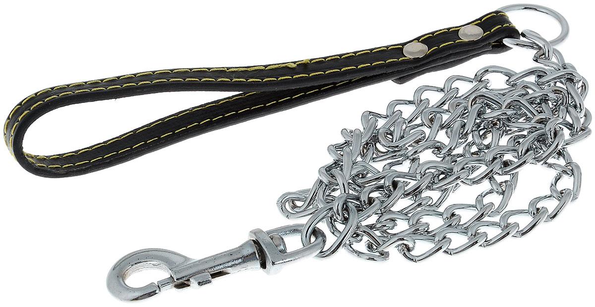 Фото - Поводок-цепь для собак с кожаной ручкой 3 мм х 110 см Triol Shl3011 (1 шт) ошейник цепь для собак двухрядный triol sha2035 2 мм х 35 см 1 шт