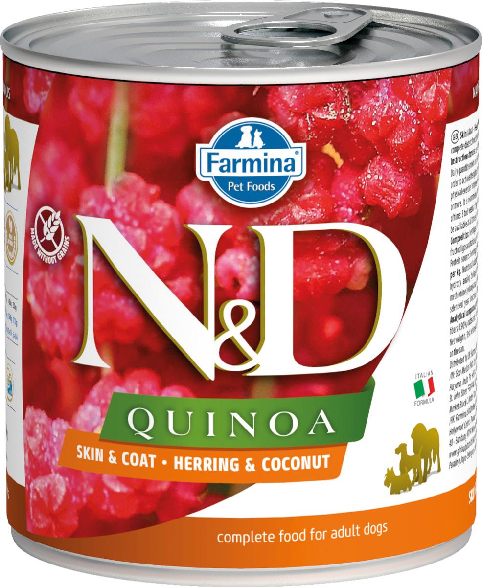 Farmina Dog N&d Quinoa Adult Herring & Coconut беззерновые для взрослых собак всех пород с сельдью, кокосом и киноа 285 гр (285 гр х 6 шт)