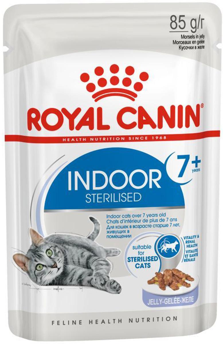 Royal Canin Indoor Sterilised 7+ для пожилых кастрированных котов и стерилизованных кошек живущих дома в желе 85 гр (85 гр х 12 шт)